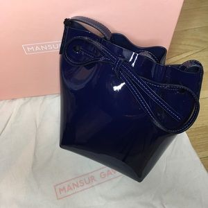 Mansur Gavriel Navy Patent Mini Mini Bucket Bag